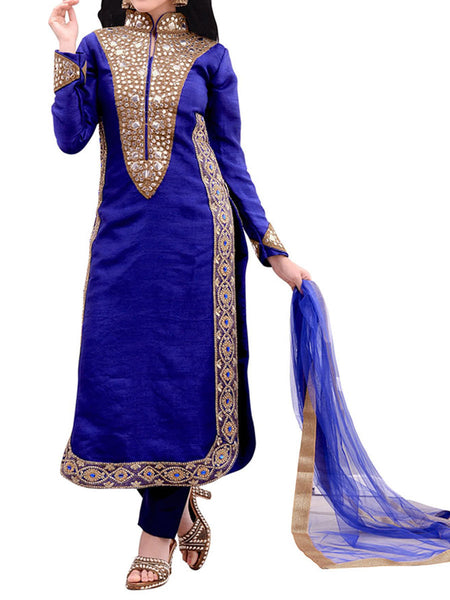 Blue Raw Silk Suit With Bottom And Dupatta - ST-PKAS9JY38