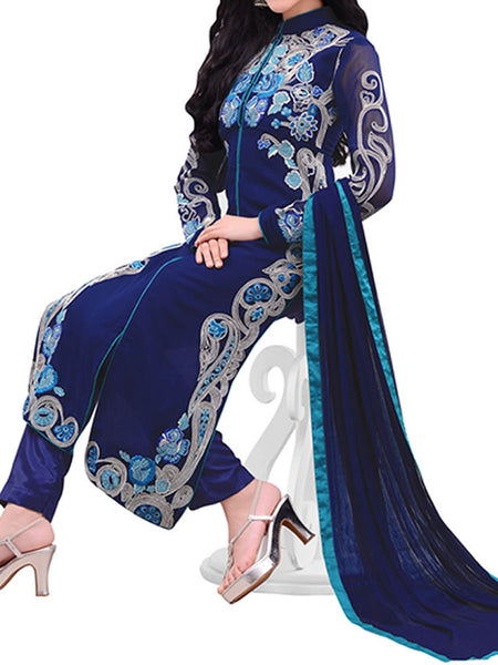 Blue Georgette Suit With Bottom And Dupatta - ST-PKAS9JY41