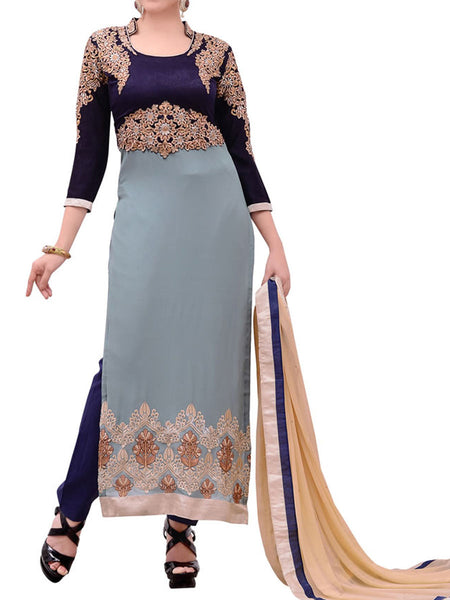 Gray Georgette Suit With Bottom And Dupatta - ST-PKAS9JY43