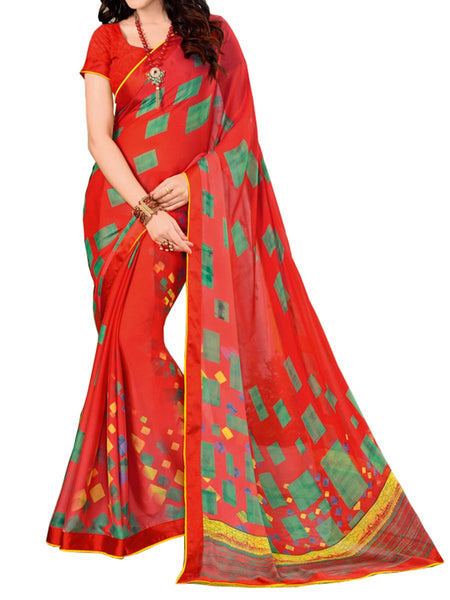 Printed Saree From Surat In Red - ST-PSSA31MH3