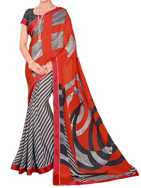 Printed Saree From Surat In Red - ST-PSSA31MH4