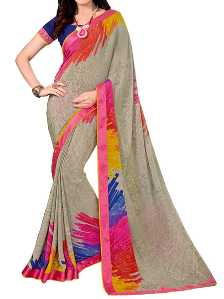 Printed Saree From Surat In Gray - ST-PSSA31MH6