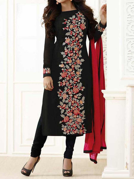 Georgette Anarkali Suit From Surat In Black - SPSS5AG8