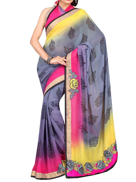 Georgette Embroidered Saree From Surat In Multicolour - DPASA8JL25