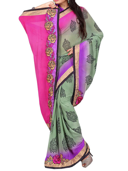 Georgette Embroidered Saree From Surat In Multicolour - DPASA8JL26