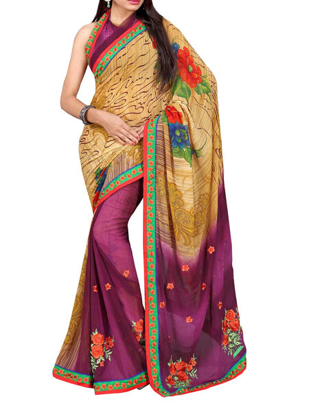 Georgette Embroidered Saree From Surat In Multicolour - DPASA8JL27