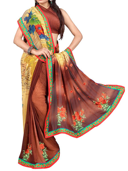 Georgette Embroidered Saree From Surat In Multicolour - DPASA8JL28