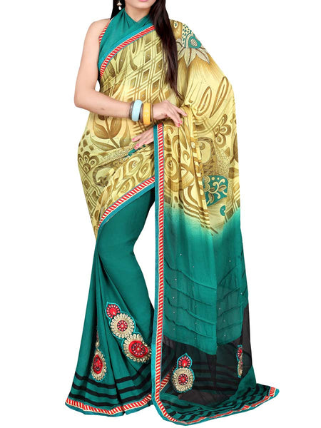 Georgette Embroidered Saree From Surat In Multicolour - DPASA8JL31
