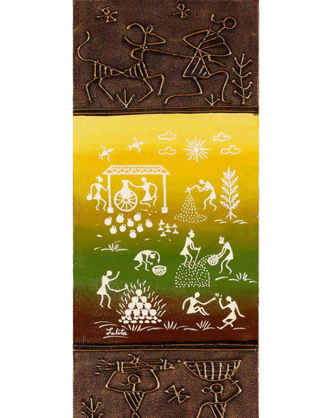 Acrylic on canvas Colour Mix Warli Painting - K1-WMDP18FB64