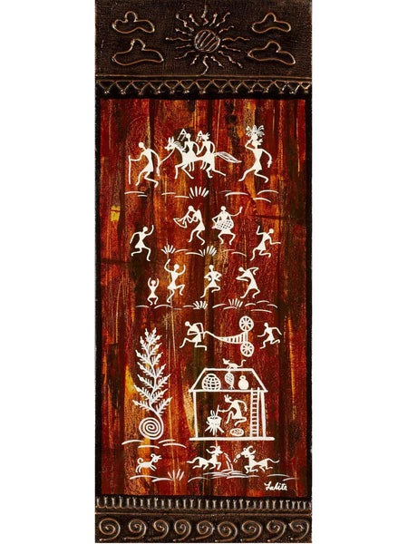Acrylic on canvas Wood Warli Painting - K1-WMDP18FB70