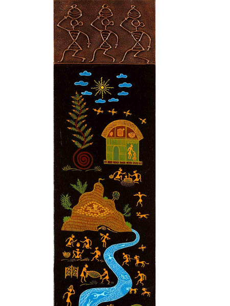 Acrylic on canvas Brown Warli Painting - K1-WMDP18FB76