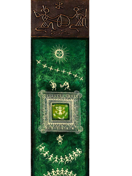 Acrylic on canvas Dark Green-Red Square Warli Painting - K1-WMDP18FB78