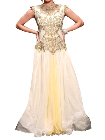Off White Net Embroidered Work Gown - ST-PKAS9JY44