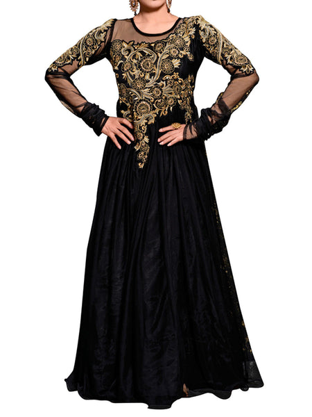 Black Color Embroidered Work Gown - ST-PKAS21JY23