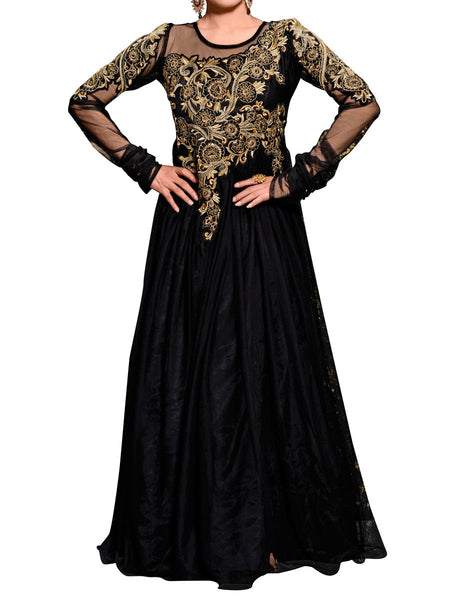 Black Net Embroidered Work Gown - ST-PKAS9JY45