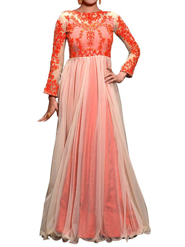Cream Net Embroidered Work Gown - ST-PKAS9JY46