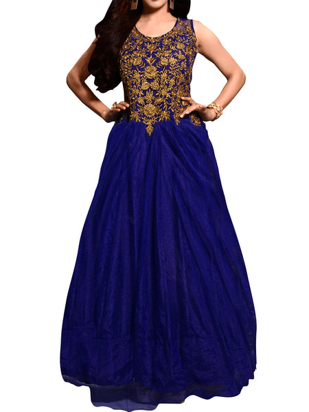 Blue Color Embroidered Work Gown - ST-PKAS21JY25