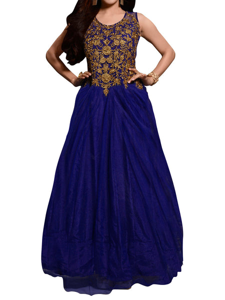 Blue Net Embroidered Work Gown - ST-PKAS9JY47
