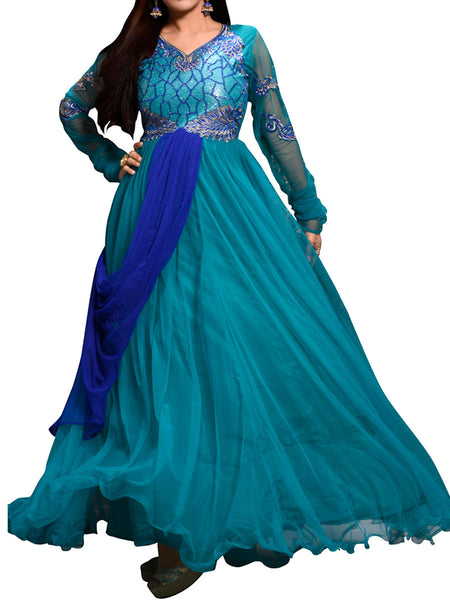 Blue Color Embroidered Work Gown - ST-PKAS21JY26