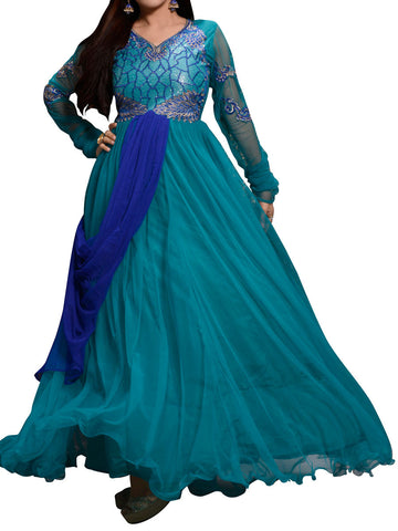 Sky Blue Net Embroidered Work Gown - ST-PKAS9JY48