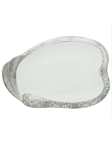 Designed White Plate Cum Serving Tray With Silver Polish - CWHDK11AG3