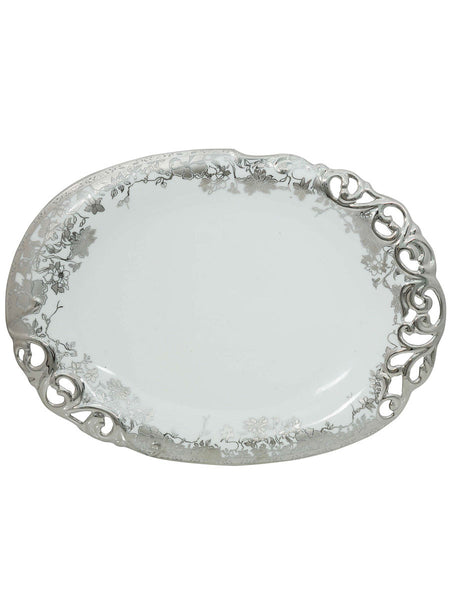 Elegant Floral White Serving Plate With Silver Polish - CWHDK11AG4
