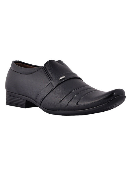 Men's Synthetic Leather Formal Slip On From Kanpur In Black - MCKMS18APL4