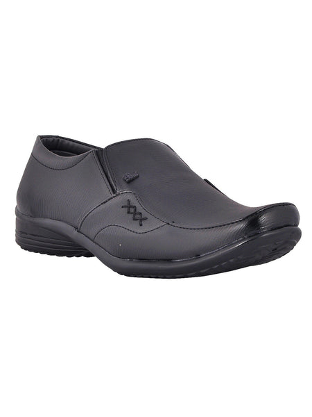 Men's Synthetic Leather Formal Slip On From Kanpur In Black - MCKMS18APL10
