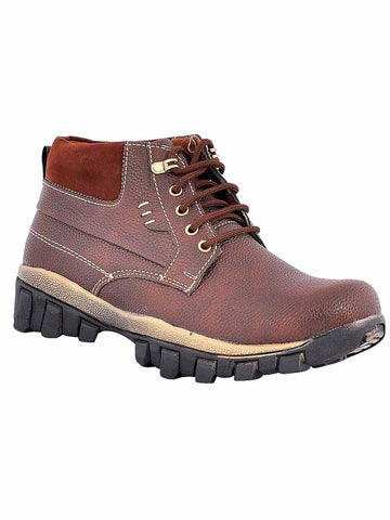 Men's Synthetic Leather Casual Boots From Kanpur In Brown - MCKMS18APL13