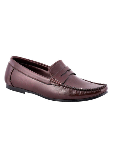 Men's Leather Casual Loafers From Kanpur In Brown - MCKMS18APL19