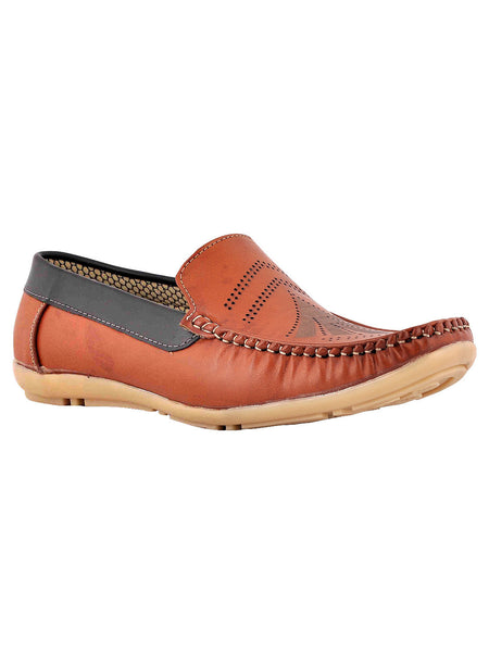 Men's Synthetic Leather Casual Loafers From Kanpur In Tan - MCKMS18APL22