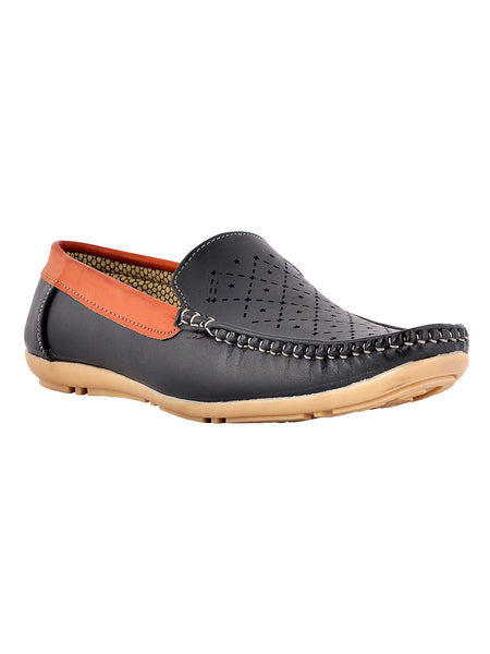 Men's Synthetic Leather Casual Loafers From Kanpur In Black - MCKMS18APL23