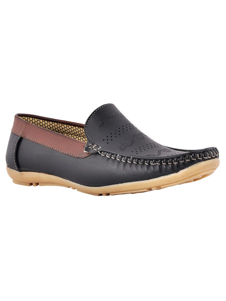 Men's Synthetic Leather Casual Loafers From Kanpur In Black - MCKMS18APL25