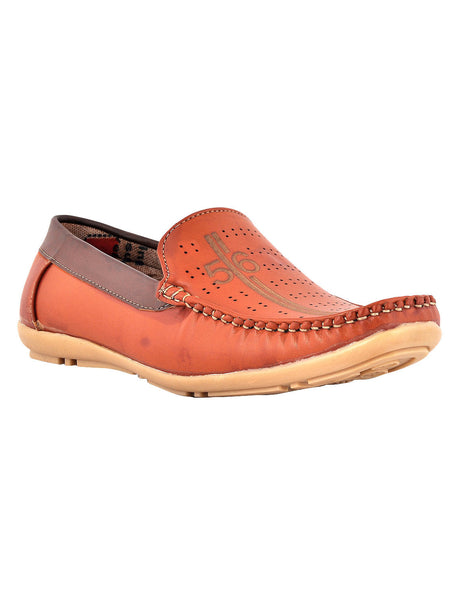 Men's Synthetic Leather Casual Loafers From Kanpur In Tan - MCKMS18APL26