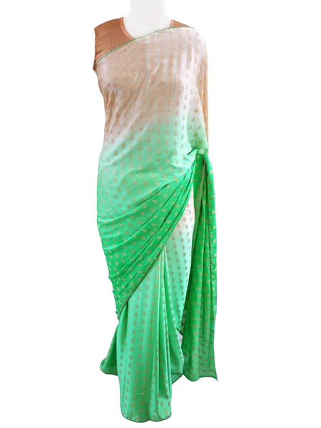 Shaded Green Crepe lacer Saree with Soft Brocade Blouse Fabric - AC-PSA11AG7