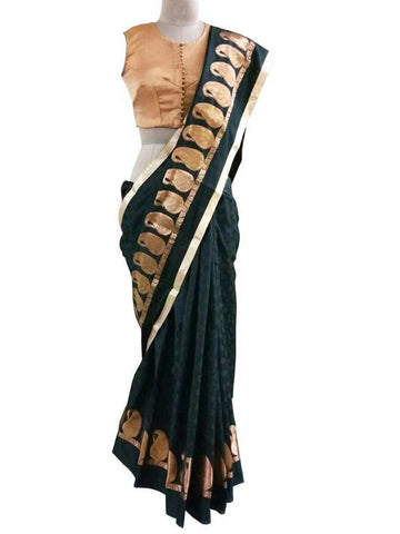 Black Chanderi Cutwork Gold Weaven Saree With Broacde Blouse - AC-PSA11AG11