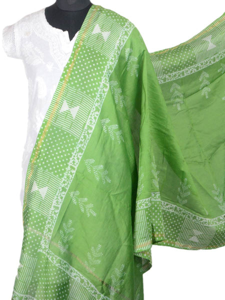 Chanderi Dupatta From Madhya Pradesh In Green - ACMD31AG3
