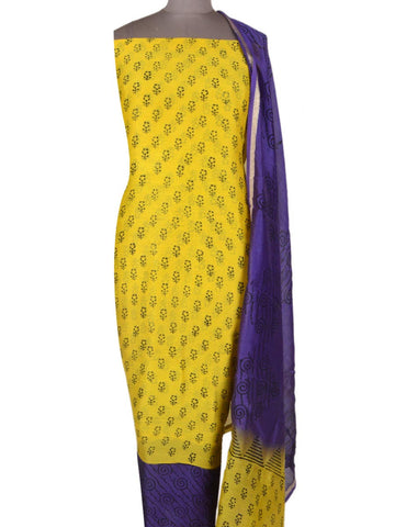 Chanderi Suit From Madhya Pradesh In Yellow - ACMPS10MH14