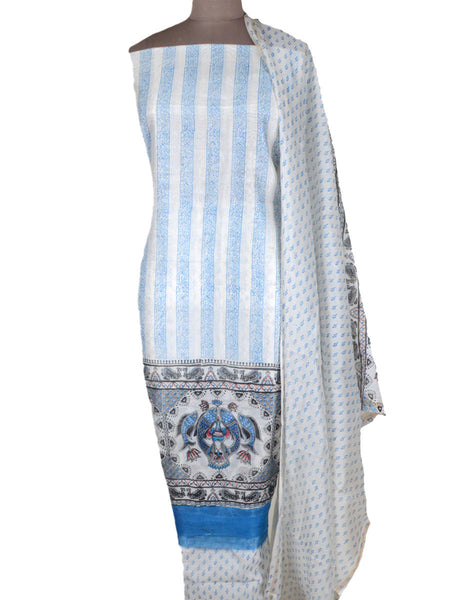 Chanderi Suit From Madhya Pradesh In White - ACMPS10MH25