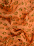 Chanderi Suit From Madhya Pradesh In Pumpkin Orange & Blue - ACMPS13FBY1