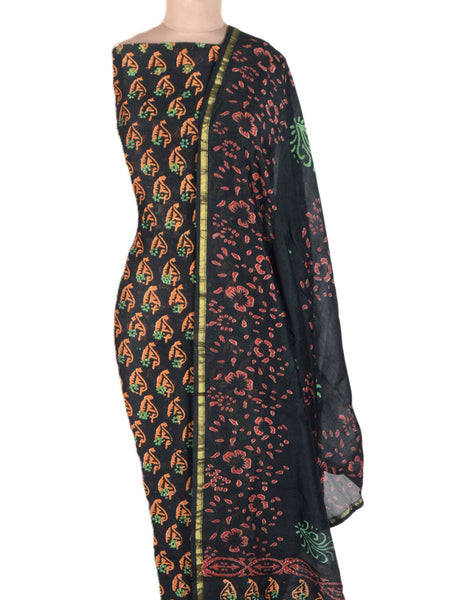 Chanderi Suit From Madhya Pradesh In Black - ACMPS31AG15
