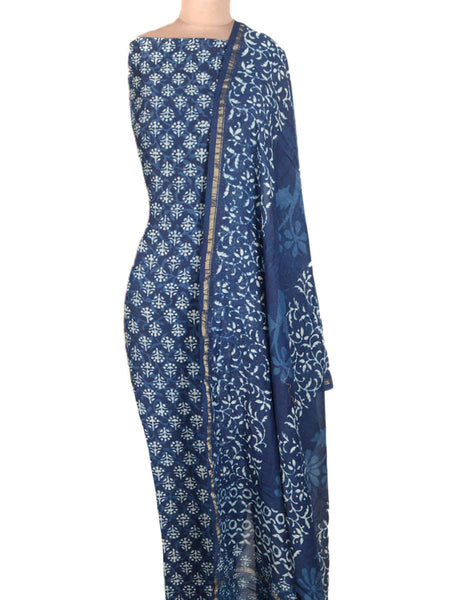 Chanderi Suit From Madhya Pradesh In Blue - ACMPS31AG4