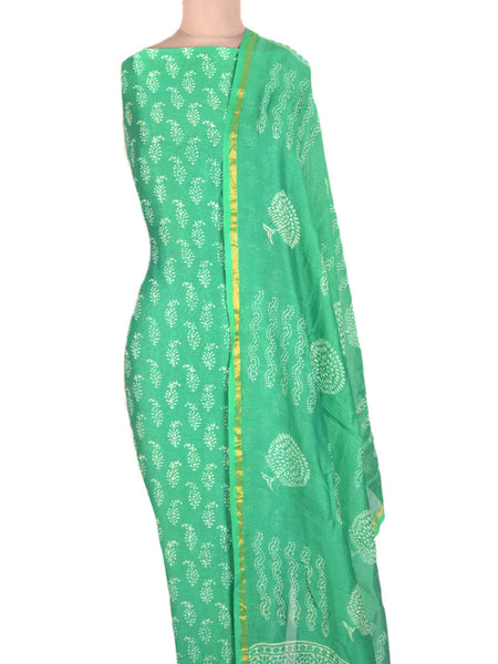 Chanderi Suit From Madhya Pradesh In Green - ACMPS31AG7