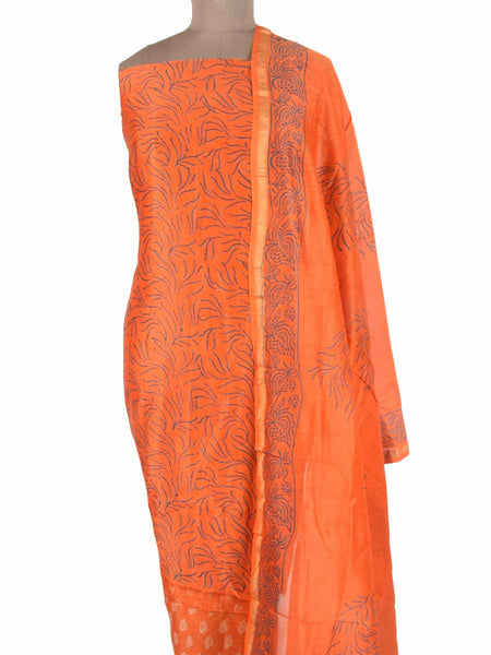 Chanderi Suit From Madhya Pradesh In Orange - ACMPS31MA12