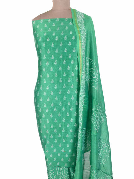 Chanderi Suit From Madhya Pradesh In Persian Green - ACMPS31MA17