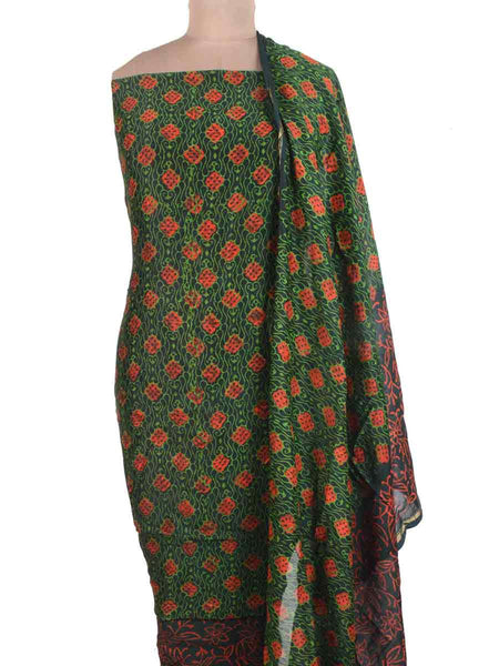 Chanderi Suit From Madhya Pradesh In Dark Green - ACMPS31MA26