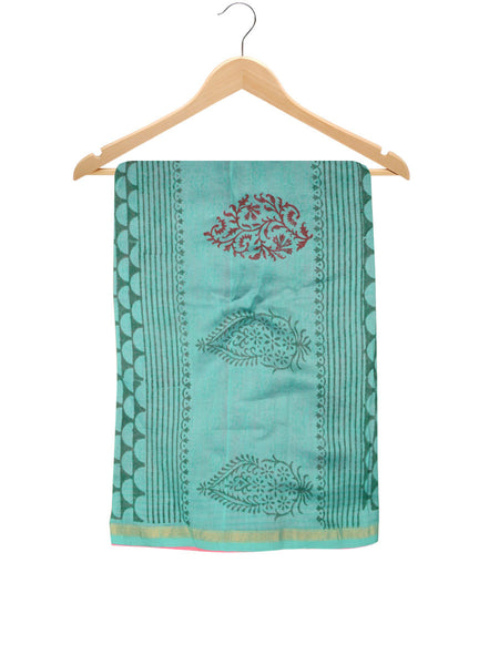 Chanderi Saree From Madhya Pradesh In Cyan Blue- ACMPSA10MH2
