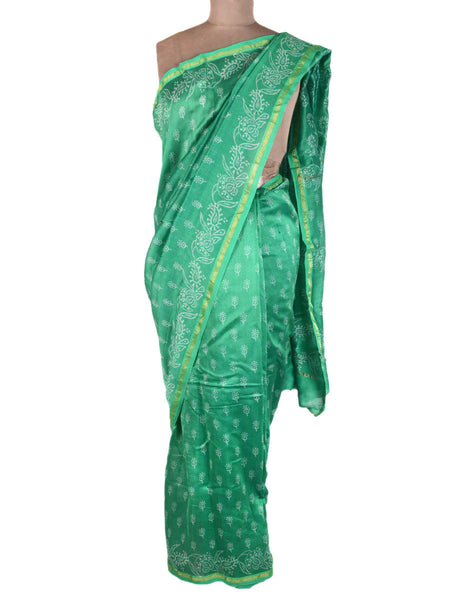 Chanderi Saree From Madhya Pradesh In Persian Green - ACMPSA31MA2