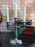 White Metal Sky Blue Candle Stand-EC-HJRWME1SP10