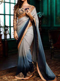Embroidery Grey Blue Georgette Designer Saree In Grey Blue - TA-ASGSA29SP9